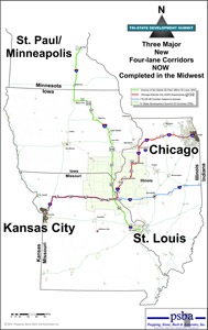 Map of the now complete Chicago-Kansas City (CKC) Expressway