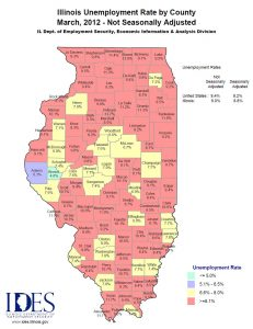 2012 March IL Unemployment Map by County